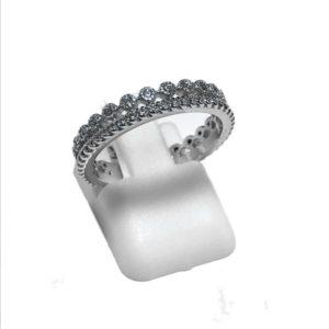 Bague femme anneau argent et zirconiums