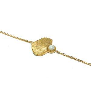 Bracelet plaqué or et pierre de lune