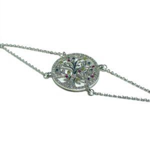 Bracelet arbre de vie en argent et zirconiums