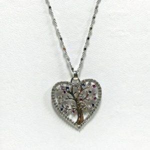collier argent et zirconium coeur arbre de vie