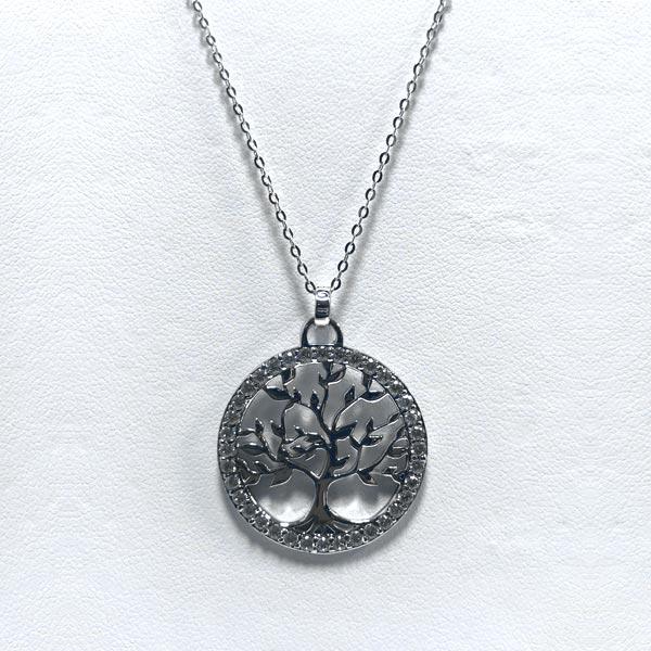 Collier argent et zirconium arbre de vie
