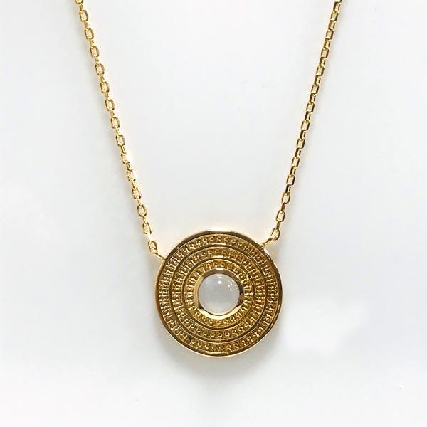 collier femme plaqué or pierre de lune