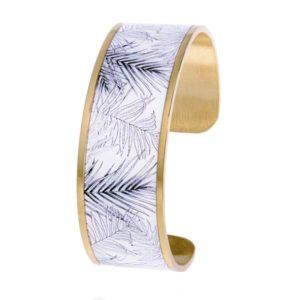 Bracelet Manchette Louise's Garden blanc imprimé tropical