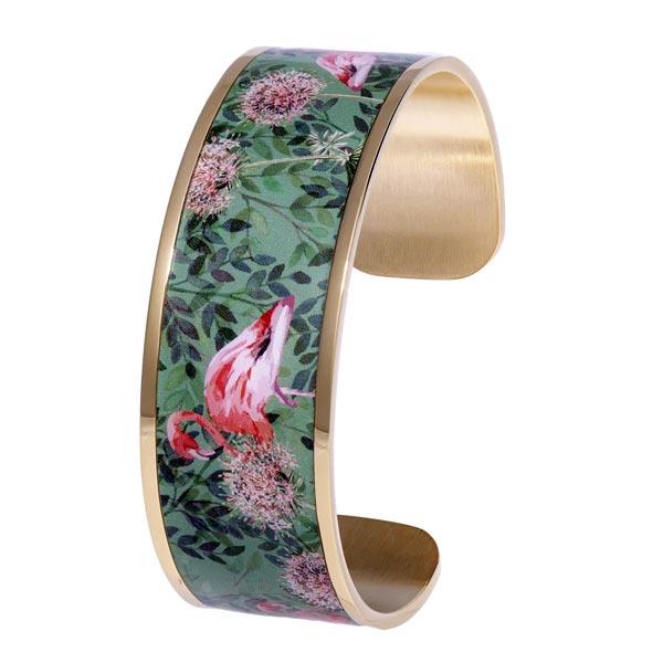 Bracelet manchette Louise's Garden flamant rose